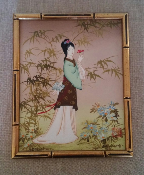 Vintage Geisha Painting In Gold Faux Bamboo Frame Chinoiserie