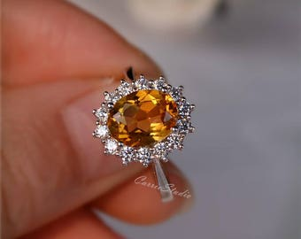 Royal Style Natural Citrine Ring Citrine Engagement Ring/ Wedding Ring 925 Sterling Silver Ring Anniversary Ring Silver Gemstone Ring