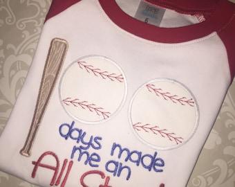 All star baseball 100 days of school raglan tee shirt, kids baseball shirt for 100 days of school, all star baseball applique for 100 days