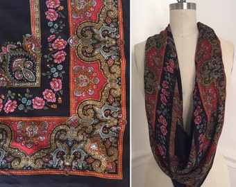 Vintage gypsy scarf. Exotic scarf. Patterned scarf. Printed scarf. Black scarf. Hipster scarf. One size.