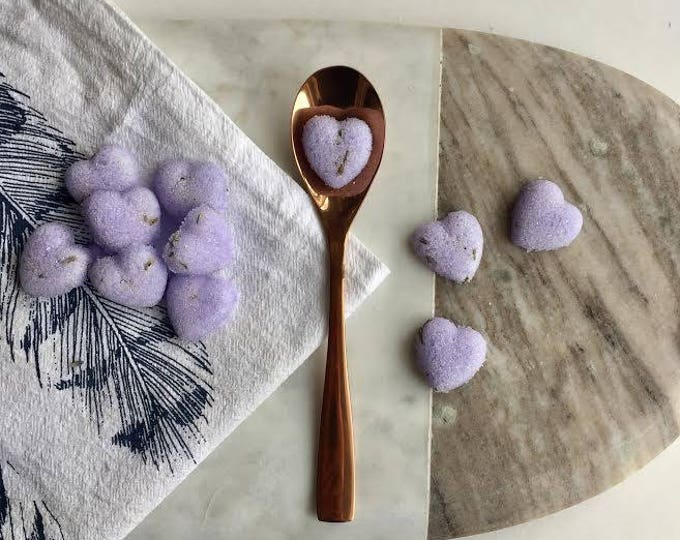 Lavender Heart Shaped Sugar Cubes. Perfect for Tea, Coffee, Champagne, Cocktail Beverages, Lemonade.