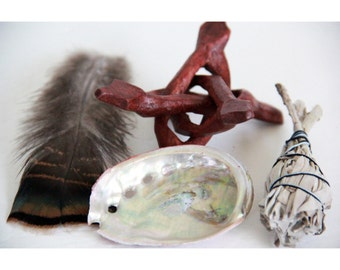 White Sage Smudge Stick Gift Set // Shell, Stand, Sage and Feather // House Cleansing Negativity Removal //