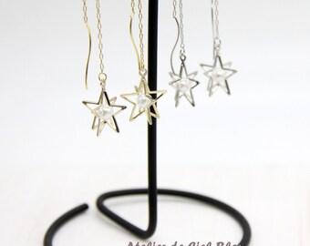 Star Earrings, Star Dangle Earrings, Gold / Silver Star Long Earrings, Pearl Earrings, Pearl Star Earrings, Star Long Earrings, Star Jewelry