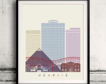 Memphis skyline poster - Fine Art Print Landmarks skyline Poster Gift Illustration Artistic Colorful Landmarks - SKU 2249