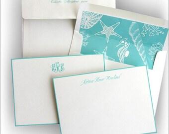 Aqua Hand Bordered Correspondence Card - Thermography - 9500