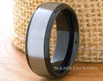 Tungsten Wedding Ring,8mm,Two Tone Mens Ring,Anniversary Ring,Black Tungsten Ring,Promise Ring,Engagement Ring,Comfort Fit,Free Engraving