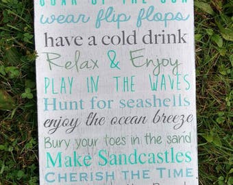 Personalized beach sign, beach house decor, beach rules, nautical wall decor, custom hand painted beach house rules, patio signs