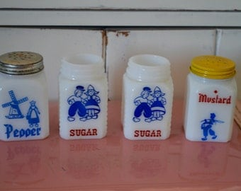Set of 4 Vintage Milk Glass Pepper, Mustard, and Sugar Shakers - So Sweet!
