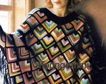 PDF Crochet Harlequin Square Motif Poncho Vintage Retro Pattern