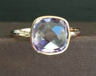 14k solid rose gold and pink amethyst ring, cushion cut, double sided checkerboard cut.
