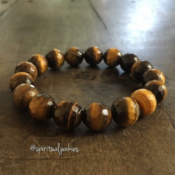 Stackable Funky Chunky 12 mm Mala Inspired Faceted Tigers Eye Yoga and Meditation Bracelet (Single Bracelet)