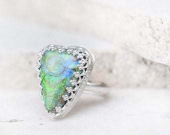 monarch opal ring, sterling silver heart ring, opal heart ring, monarch opal jewelry, monarch opal stone, heart opal ring, opal jewelry