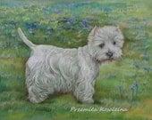 CUSTOM DOG portrait scenic LANDSCAPE Art form photo Large size Pastel drawing Made to order Portrait two pets Whole siluette Westie Terrier