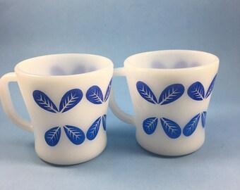Federal glass blue petal/leaf milk glass coffee mugs