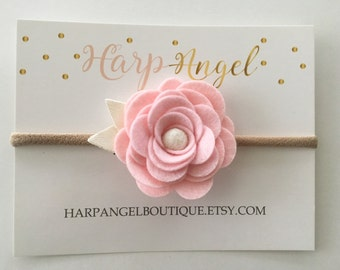 Pink Felt Rose Flower Nylon One Size Fits All Headband or Hair Clip Newborn / Baby / Toddler / Girls Headband