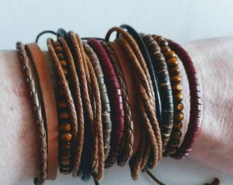 Stackable Leather Braclets. Bohemian Bracelet. Boho.