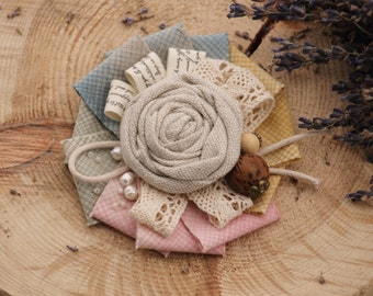 Natural Linen Brooch fabric textile beige white eco friendly brooch flower women pin brooch summer rose brooch bouquet boho chic jewelry