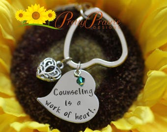 Counseling is a Work of Heart Keychain - Counselor Gift - End of the Year Counselor Present - Handstamped Keychain