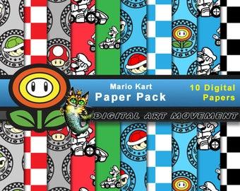 Mario Kart, Mario Kart Wallpaper, Mario Kart Seamless Patterns, Mario Kart Digital Gaming, Mario Kart Arcade Gift Wrap, Mario Kart Scrapbook
