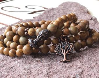 Mala Lace Wood 108,Buddha 108 Jewelry,Caramel Necklace 108,Tree of Life Mala,Meditation Bracelet,Japa Mala Yoga 108,Energy Prayers Mala Zen
