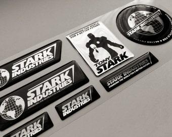 Iron Man Stark Industries Tony Chrome 3d epoxy resin domed emblem decal stickers