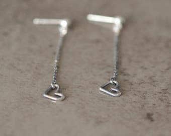 Earrings dangle heart earrings in silver, Valentine gift