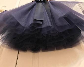 Navy circle tulle skirt,Soft Tulle skirt, flower girl tutu,Soft Tulle,Girls CUSTOM sewn tutus