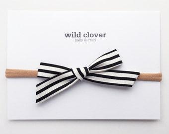 Stripe Schoolgirl Bow-Black & White, school girl nylon bow headband, schoolgirl bows, baby headbands, nylon headband, school girl bow
