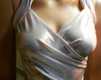 Bandage wrap top blouse bikini swimsuit fabric Lycra bodice silver unique pole dance lingerie lingerie stretch size 36-42