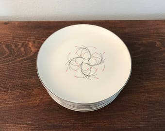 "Homer Laughlin ""Rhythm"" Dessert Plates - Set of 11"