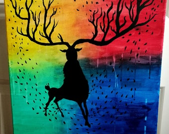 Deer - acrylic painting 40x40 cm rainbow colors black deer