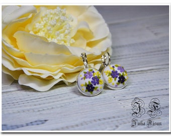 white earrings floral jewelry small purple flowers earrings applique floral embroidery floral filigree floral earrings girls gift for her
