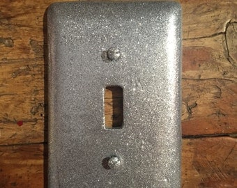 Silver glitter light switch plate. Silver glitter toggle cover. Single toggle cover Silver pretty sparkle switchplate with silver bling