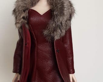 Fur Trimmed Leather Coat With Matching Dress for Evangeline Ghastly Dolls