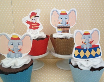Dumbo Elephant Party Cupcake Topper Decorations - Set of 10