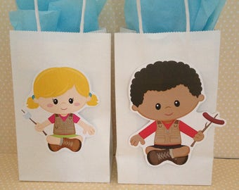 Camping Party Bags With Handles - Set of 10