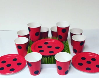 Ladybug Birthday Party Cups and Plates, Ladybug Baby Shower Cups and Plates, Ladybug Tableware, Ladybug Party Supplies (20 Piece Set)