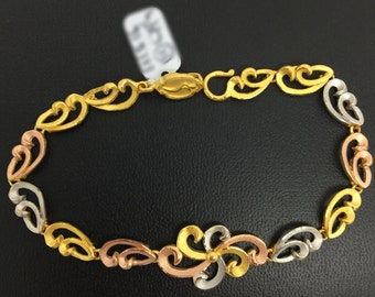 24K Solid Tri-Color Gold Bracelet