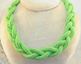 Green beaded braid crochet rope necklace jewelry classic seed Bead statement bib handmade fashion bohemian accessories woven woman wicker