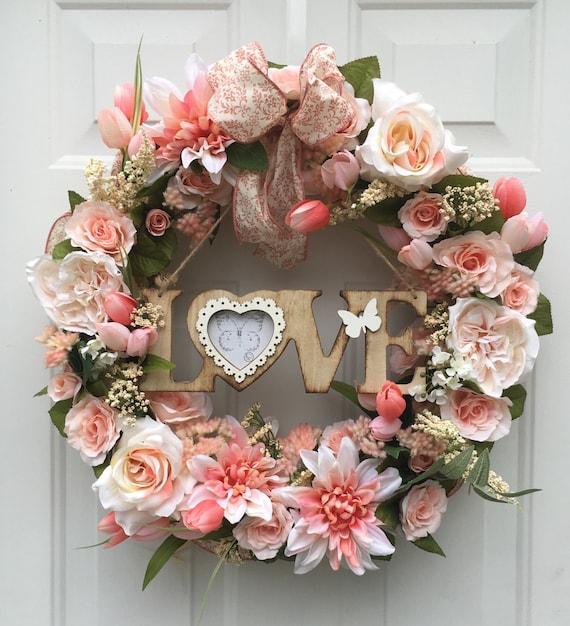 Flower Wreaths For Weddings: Peach Flower Wreath Love Wreath Wedding Wreath