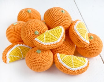 Crochet Orange - Play Food - Learning toy - orange slice - Kitchen decor - pretend play