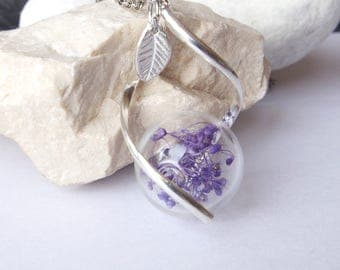Purple flower necklace Glass terrarium pendant  Pressed flower necklace Bridal jewellery Gift for her  Real flower Botanical necklace Bridal