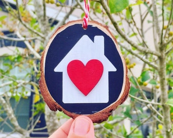House with Heart Ornament, Our First Home Christmas Ornament, Our First Home Ornament, Our First House Ornament, Rustic Wood Slice Ornament