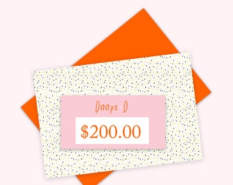 Gift Certificate 200 aud - print out straight away - can be used throughout 2017