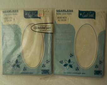 Lot of 4 Pair of Vintage Montgomery Ward White Nylons Hose Size Petite 90 New and Sealed