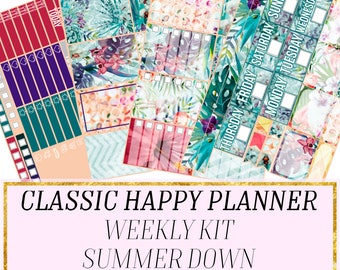 Stickers for the Classic Happy Planner, Summer sticker kit, stickers for planning, planner stickers, happy planner sticker kit, mambi