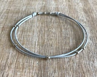 Silver Beaded Anklet, Waxed Cord Anklet, Gray Anklet, Adjustable Anklet, Waterproof WA001466
