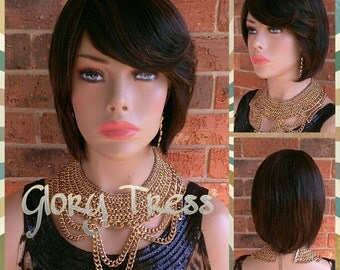 ON SALE // Short & Straight Layered Full Wig, 100% Brazilian Remy  Human Hair, Side Swept Bangs// SINCERE (Free Shipping)