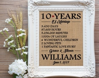 10 Years of Marriage Burlap Print, 10th Wedding Anniversary Gift, 10 year Anniversary Gift, Anniversary Gift, Farmhouse Anniversary Gift