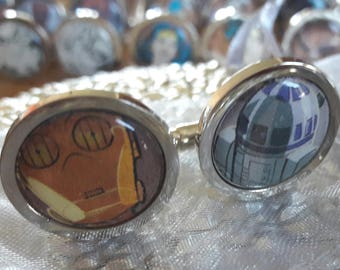 Unique Recycled Comic Book 'C3PO and R2D2' Circular Comic Cufflinks - Upcycled & Unique Cufflinks